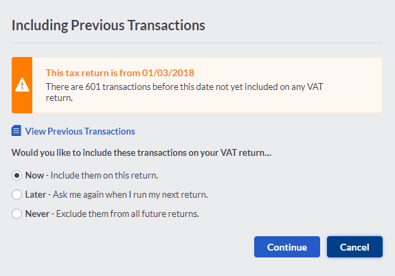 Include previous VAT trasactions