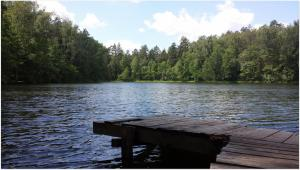 Move Our World Warmia Mazury Lake with a small bridge for swimming