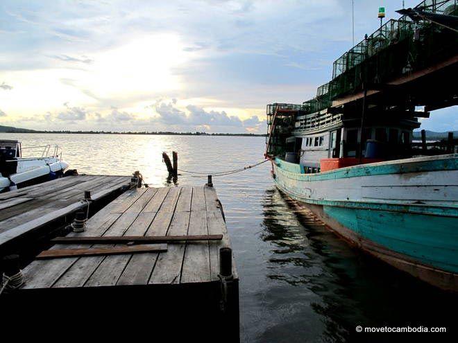 Boat docked at the Koh Kong riverside