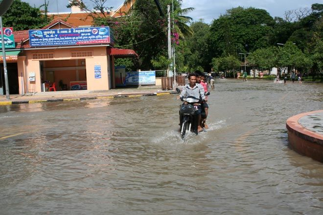 The flooded streets of Siem Reap during rainy season.