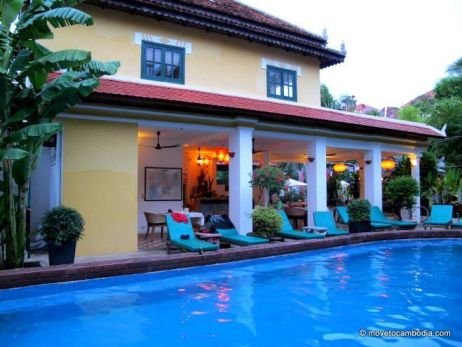 A poolside view of a hotel in Siem Reap, Cambodia.