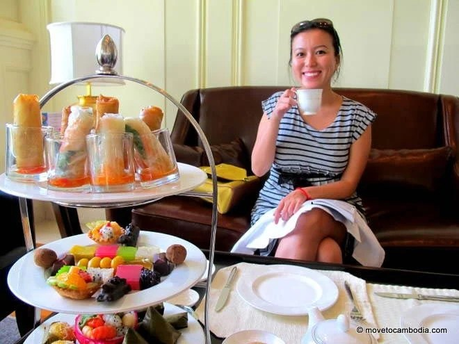 Cambodia expat Shirley Fong enjoys afternoon tea at the Phnom Penh Sofitel.