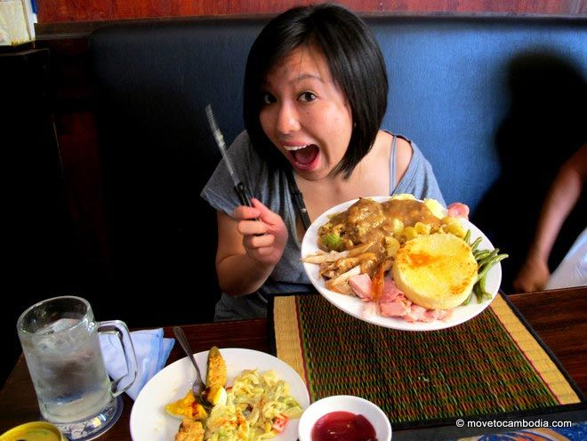 An expat in Cambodia enjoys Thanksgiving dinner