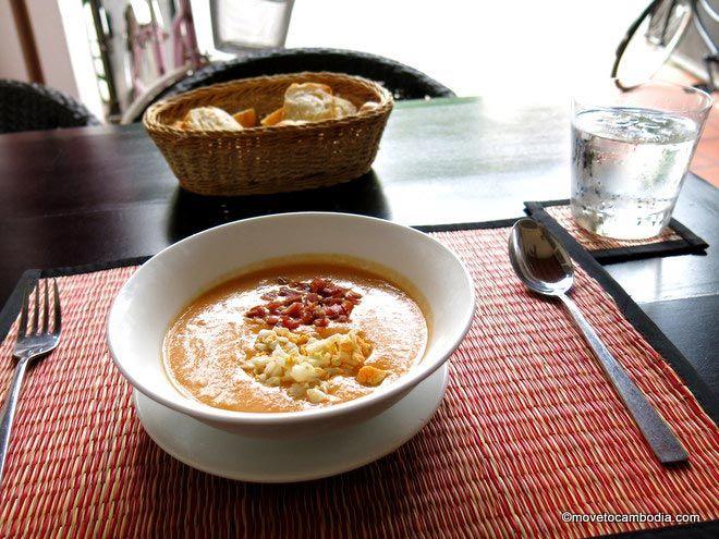 A bowl of Salmorejo at La Plaza in Phnom Penh