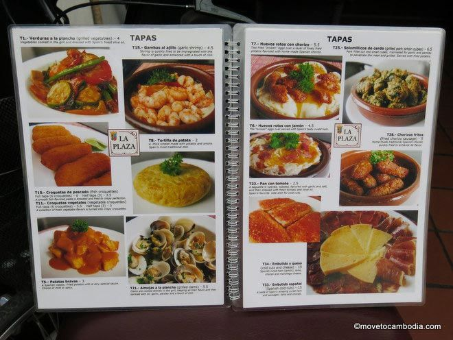 The menu at La Plaza Spanish Tapas Bar, Phnom Penh