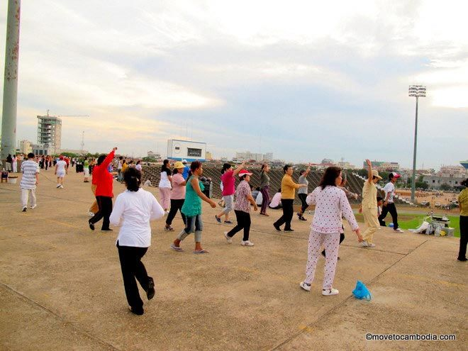group aerobics at Olympic Stadium in Phnom Penh
