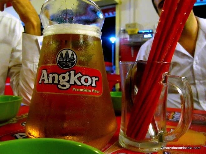 A pitcher of Angkor Beer at a Cambodian BBQ