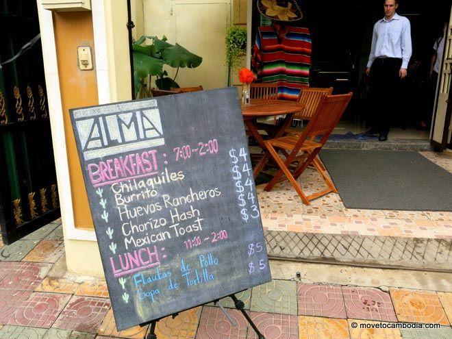outside of Alma Cafe Phnom Penh