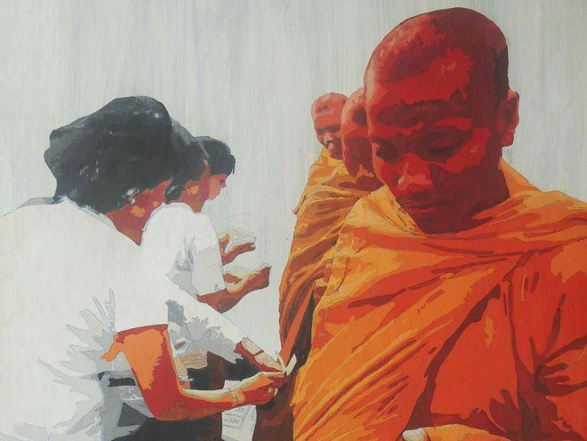Monk procession by Lim Muy Theam