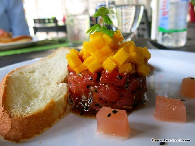 Tuna tartare at Siem Reap's Mie Cafe.