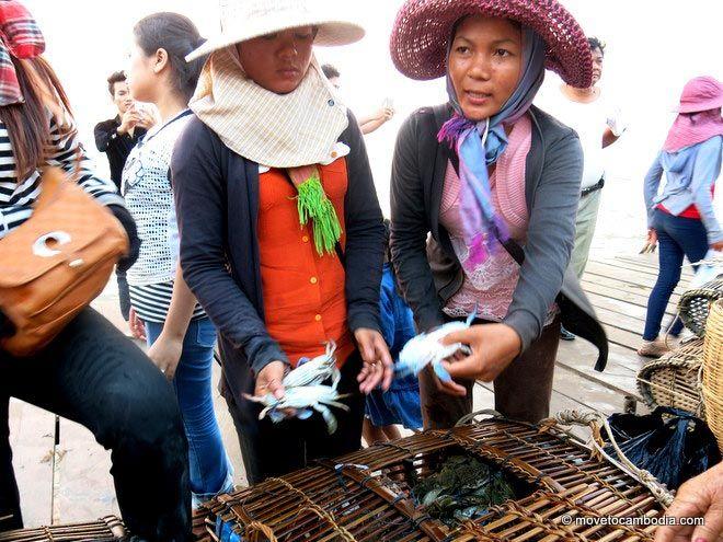 Crab sellers at Kep Crab Market