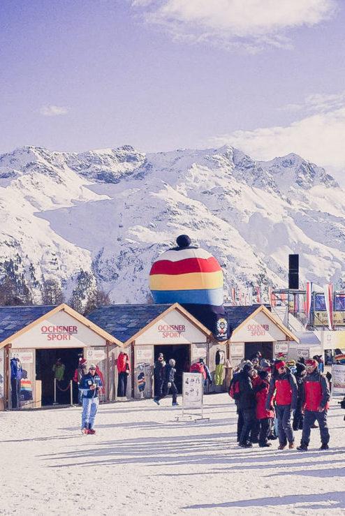 Holzbauen Event, Eventchalet, Eventumsetzungen Schnee, Ski WM St.Moritz Sponsoren