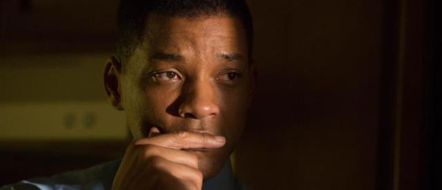 "This image released by Columbia Pictures shows Will Smith in a scene from the film, ""Concussion."" Smith plays Dr. Bennet Omalu, a Nigerian-born forensic pathologist in Pittsburgh who knows nothing about football when he performs the autopsy on former Steelers center Mike Webster. Omalu discovers CTE in Webster's brain, setting him on a journey that exposes the concussion crisis. (Melinda Sue Gordon/Columbia Pictures via AP)"
