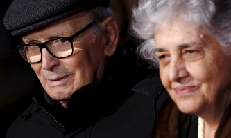 Ennio Morricone at the film's premiere with his wife Maria