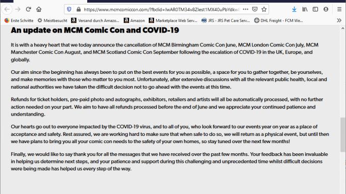 MCM Comic Con Covid 19