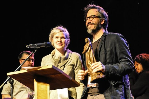 "Claire Carre and husband Charles Spano accept narrative feature award for ""Embers."" Carre also received the first Alice Guy-Blaché Filmmaker Award which includes $1,000 from the Louis M. Rabinowitz Foundation."