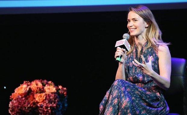 Emily Blunt in conversation. Courtesy of Getty Images.