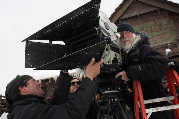 Richardson checks a shot. Ultra Panavision is actually shot on 65mm film but projected in 70mm.
