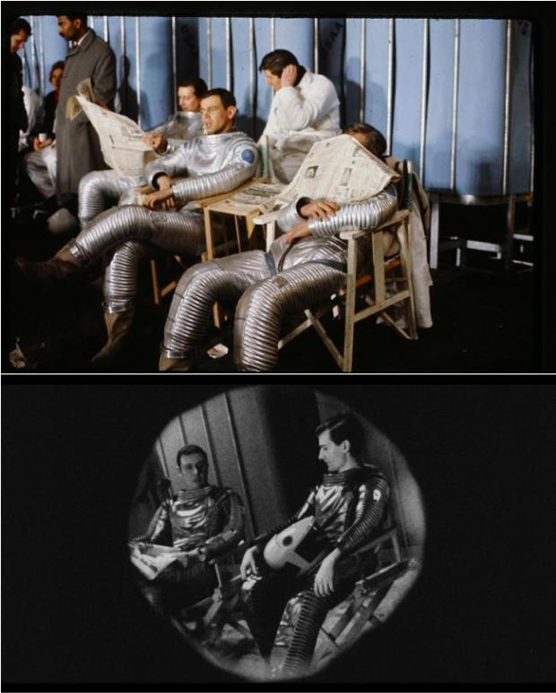 Using original photographs of NASA astronauts and Stanley Kubrick on the set of 2001: A Space Odyssey, Operation Avalanche's VFX supervisor Tristan Zerafa placed fictional characters into historical sets