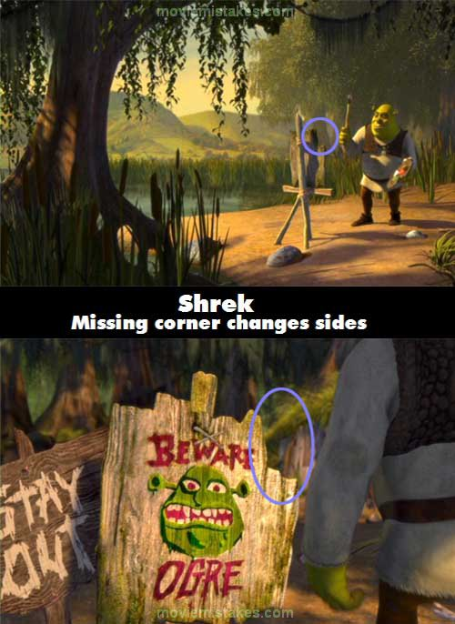 Shrek 2001 movie mistakes goofs and bloopers