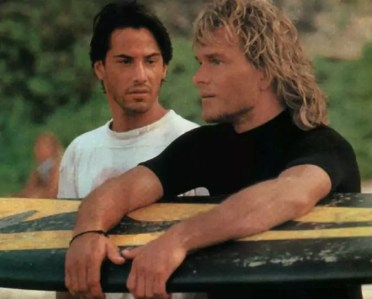 Patrick Swayze en Keanu Reeves in Point Break