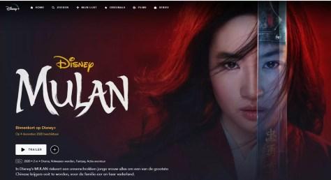 Geen Disney VIP access beschikbaar in België, Mulan komt op 4 december 2020 naar Disney Plus België