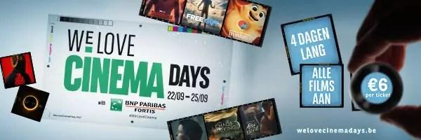 BNP Paribas Fortis Film Days wordt We Love Cinema Days en gaat door van 22 tot 25 september 2021