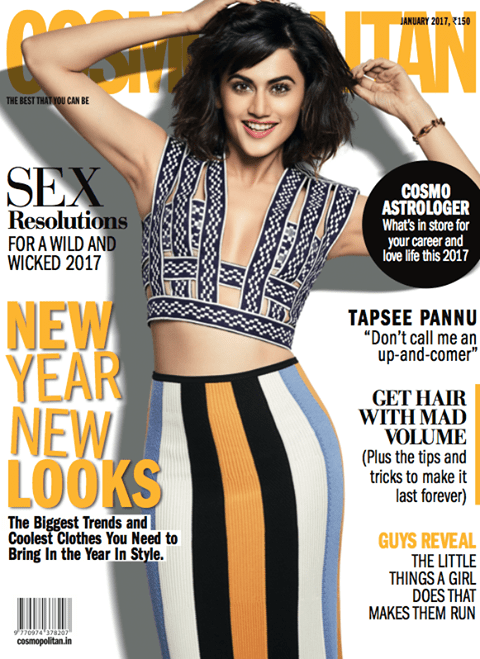 Taapsee Pannu Cover Photoshoot Of Cosmopolitan India Magazine January 2017 Image 1