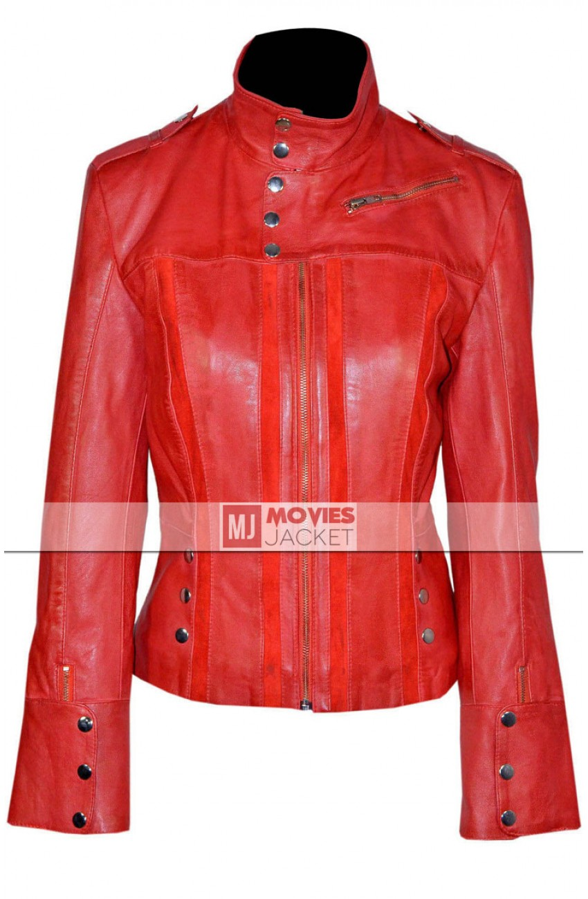 Women S Designer Casual Wear Red Leather Jacket