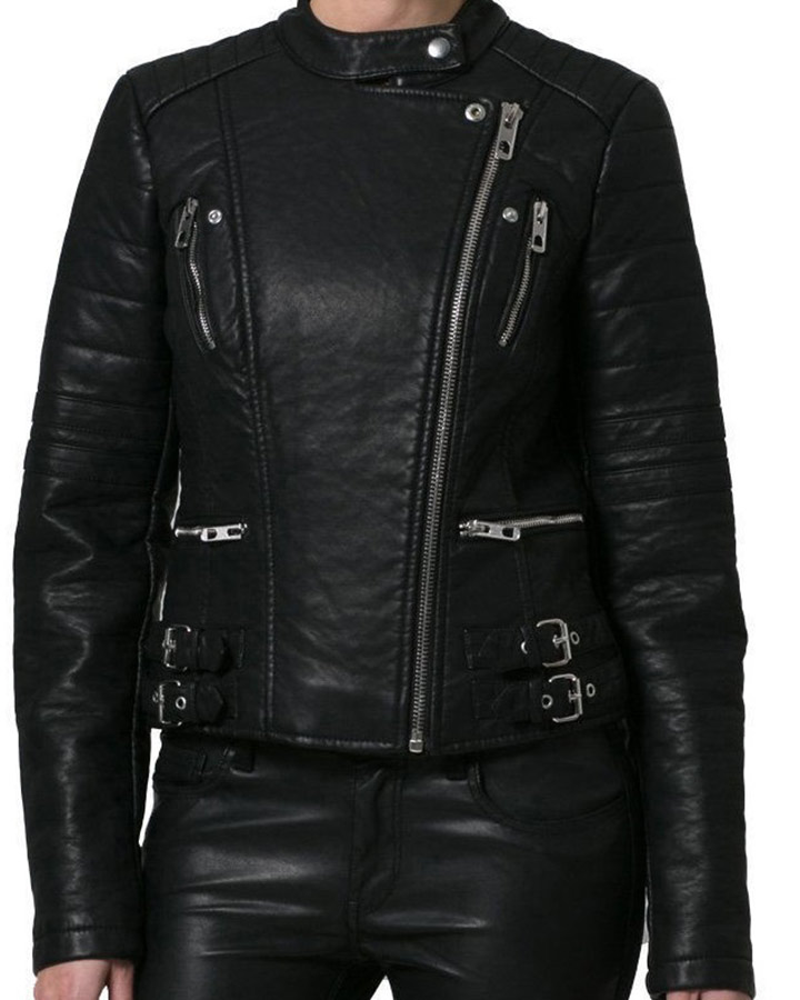 womens black quilted leather