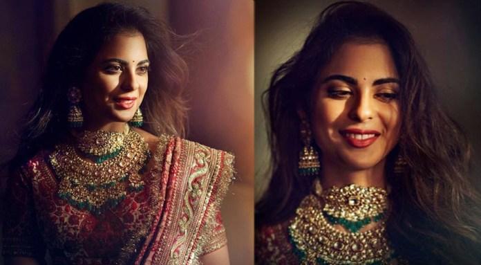 Isha Ambani  PICS ALERT! Isha Ambani Looks Like A Dream In Her Sabyasachi Lehanga At Her Graha Shanti Pooja isha ambani 1