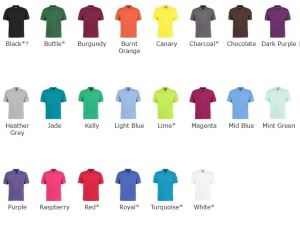27 colour pallete for our superwash clerical clergy polo shirt