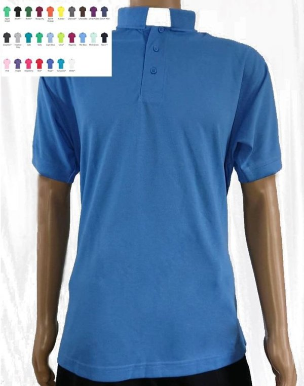 Superwash Clerical Polo Shirt mid blue 27 colours