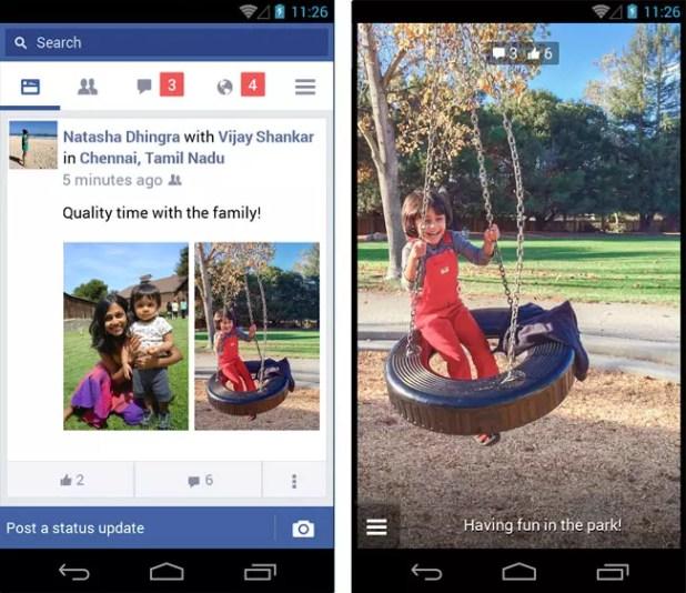 Interfaz de Facebook Lite