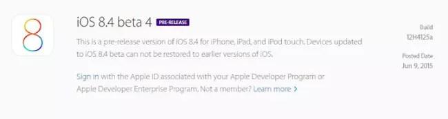 Cuarta versión Beta de iOS 8.4