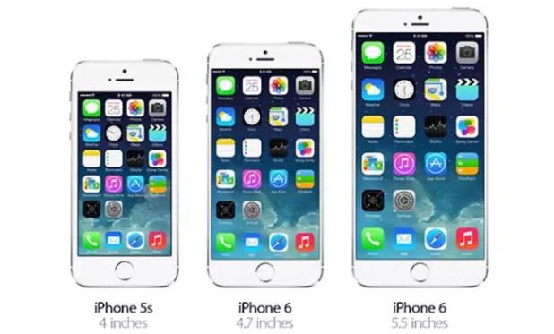 Diferencia de tamaño entre distintos iPhone