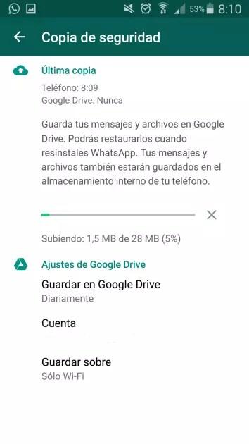 WhatsApp Google Drive menú