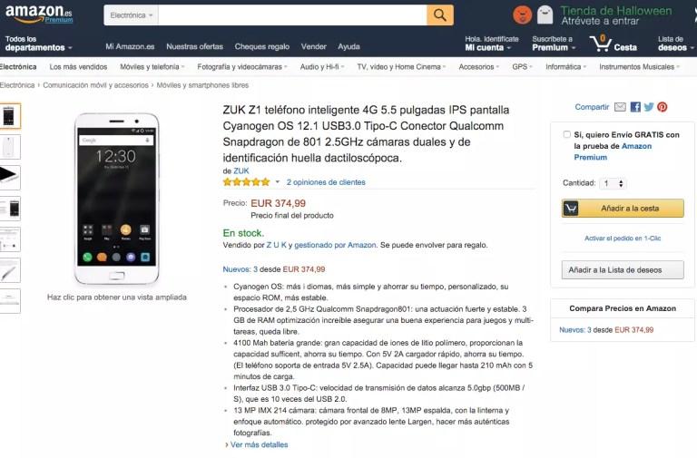 ZUK Z1 en amazon