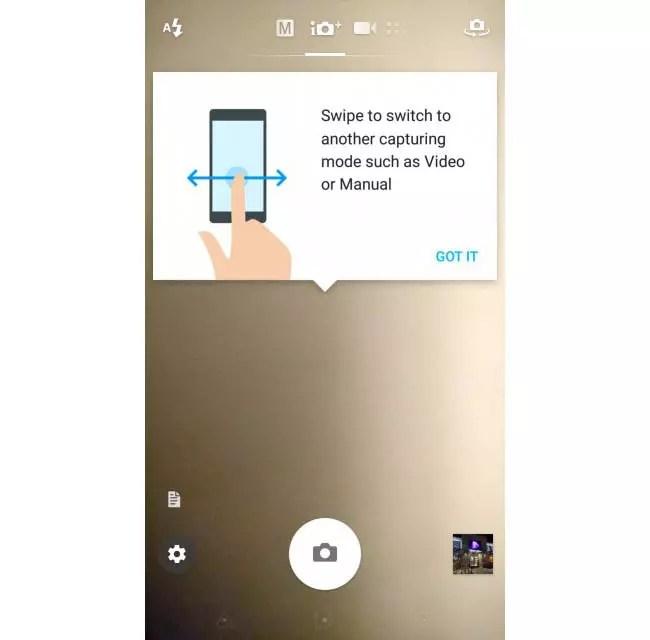 Xperia Z5 camara app horizontal