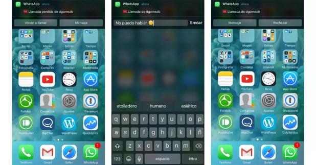 WhatsApp contestar llamadas con mensaje