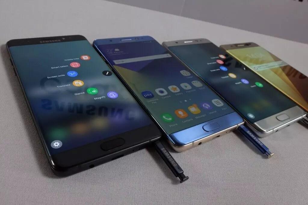 Samsung Galaxy Note 7 todos los colores frontal