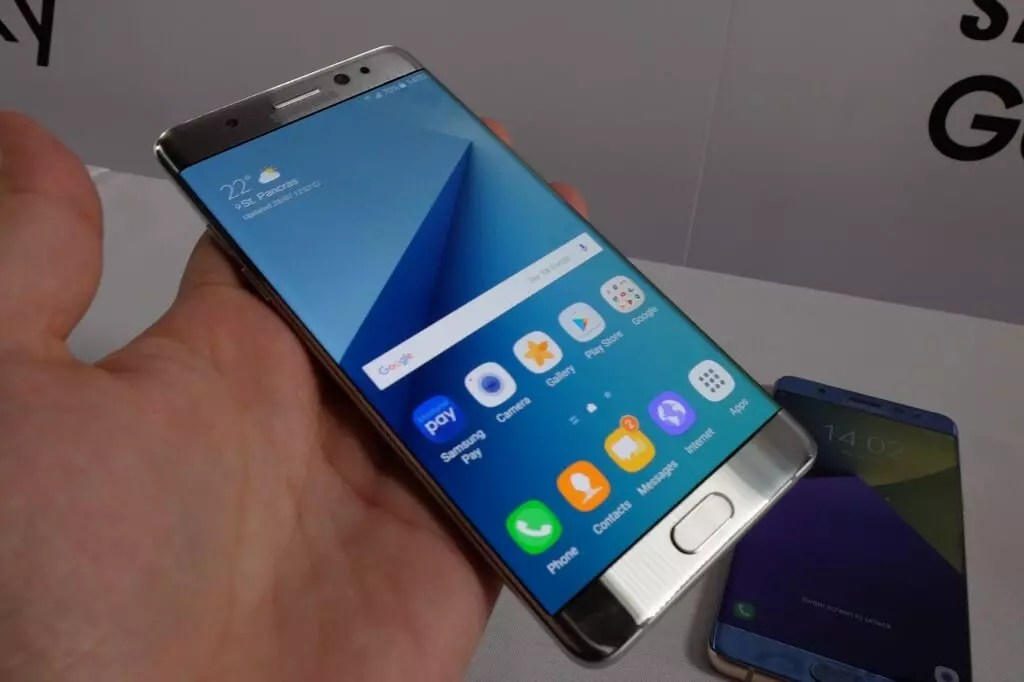 Samsung Galaxy Note 7 plateado frontal