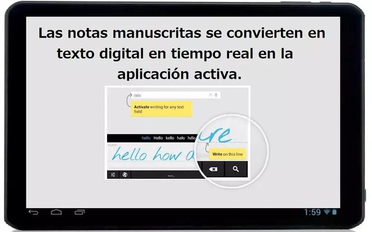 Escritura a mano alzada con MyScript Stylus en una tableta