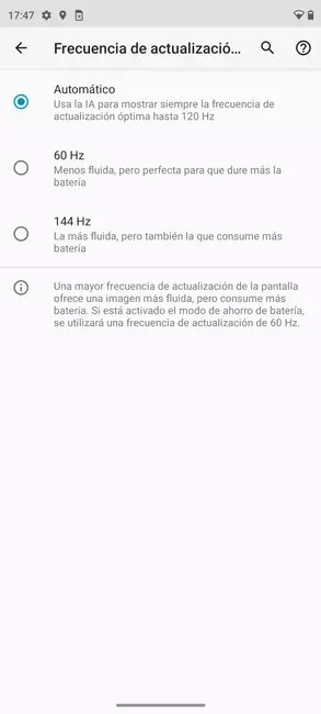 Managing the Moto Edge 20 Pro screen frequency