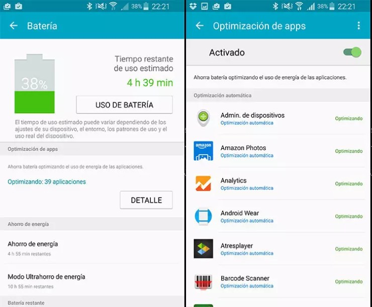 Ajuste del optimizador de apps en TouchWiz