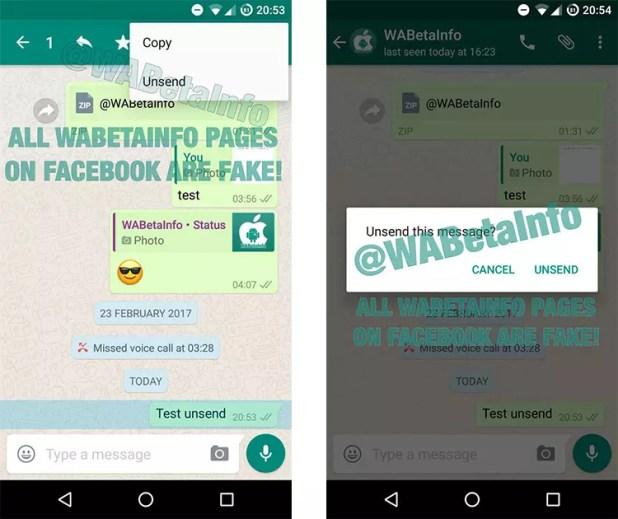 Opción de borrar mensajes enviados en WhatsApp