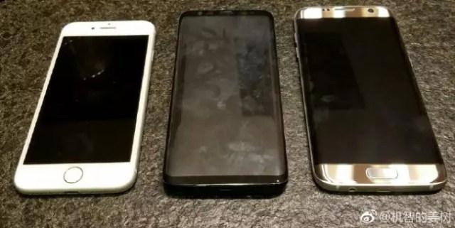 Comparativa de tamaño del Samsung Galaxy S8 con el iPhone 7