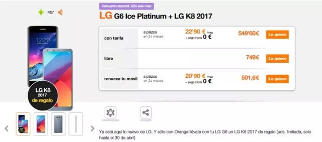 Precio del LG G6 en Orange con regalo