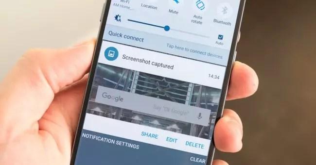 captura de pantalla en un Samsung® Galaxy