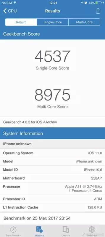 Rendimiento del iPhone 8 en Geekbench